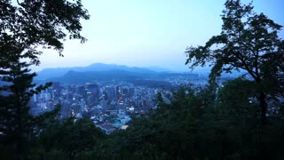 Seoul, South Korean capital city view from top of mountain during sunset evening time