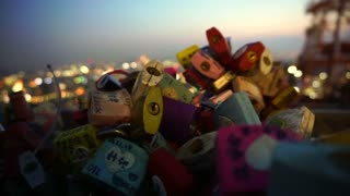 SEOUL,SOUTH KOREA - July 2016:  N Seoul Tower lock of love with romantic night view from hill deck