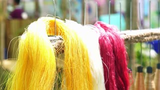 silk wool and silk thread dyed colour in Asia