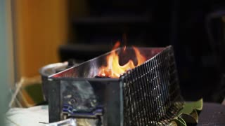 Slow motion charcoal fire 120 fps. Barbecue cooking preparing