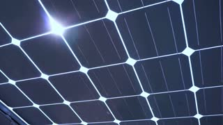 Solar cell panels with sun light, close up