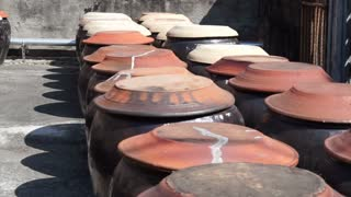 soy bean fermented in the clay pot to make soy sauce