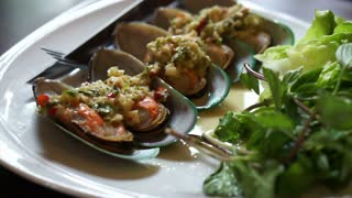 Thai Mussel cocktail appetisers food at restaurant