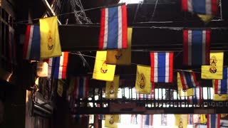 Thai national flags and Thai's King flag