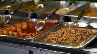 Thai style fast food tray, Variety food for eat at restaurant or take home