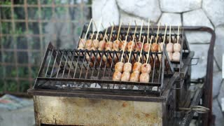 Thai style street food, Sour sausage grilling on street side