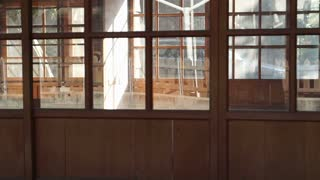 Traditional classic Japanese style architecture. Wooden house with glass