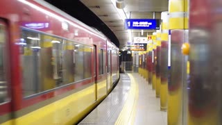 Train running through subway