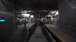Train subway pop in dark tunnel and station light