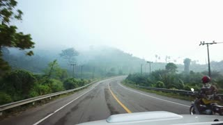 tropical jungle with morning mist. fun Driving car in foggy road trip pov
