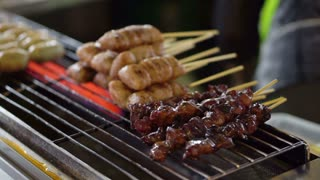 Variety kind of Thai bbq skewers selling at local market