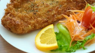Video of Fried battered Fish and colourful salad