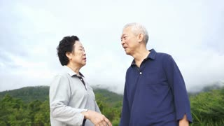 Video of Happy asian senior couple pointing, talking and walk through the park with mountain background