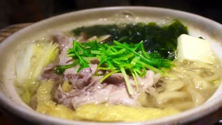 Video of Meat hot pot, japanese food, nabe sukiyaki style