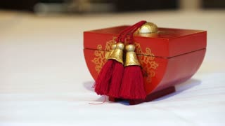 Video of red and gold Chinese wooden box