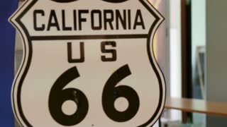 Video Route 66 US California highway signage. Famous road trip street in United State
