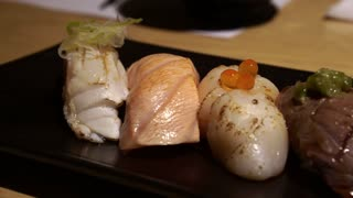 Aburi seared sushi set Japanese food video