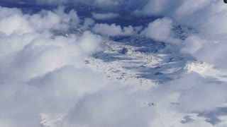Aerial view of West Europe landscape. White snow wonderland all over mountain line