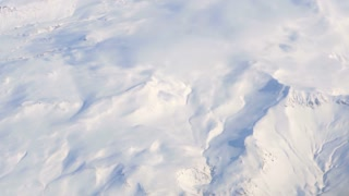 Aerial view of West Europe snow alpine landscape. White snow wonderland all over mountain line