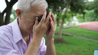Asian elderly has no money in wallet stress and hopeless on financial plan