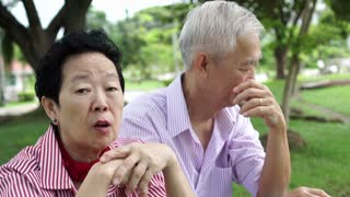 Asian elderly senior couple relax talk in the park