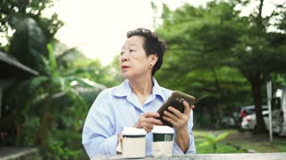 Asian elderly woman waiting with tea at park alone