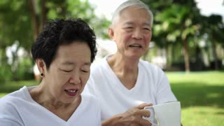 Asian senior couple talk, laugh enjoy park nature green background 4k