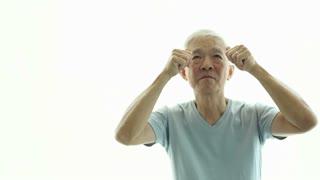 Asian senior man excite and happy eureka ideas