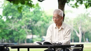Asian senior man reading book alone in the park
