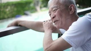Asian senior man relax talking happy with family