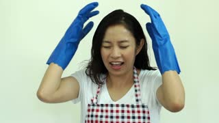 Asian woman housewife stress out screaming