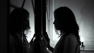 Asian woman open mirror door finding her Inner self 4K