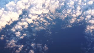 Beautiful aerial view of sunset cloud and sky from airplane
