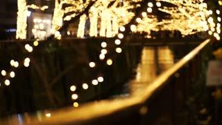Beautiful golden illumination Christmas light in Tokyo, Japan. Light reflect in Nakameguro canal