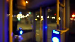 Blur public transportation at night bus interior in Europe