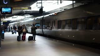 Copenhagen, Denmark - 13 April 2017 - Copenhagen airport train station slow motion video