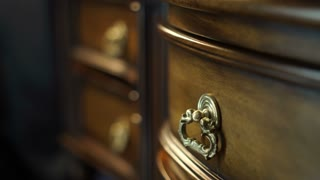 Detail furniture craft antique wood table close up