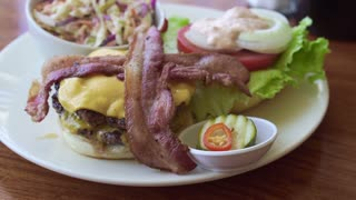 Diner plate, Beef cheese burger with bacon and coleslaw side