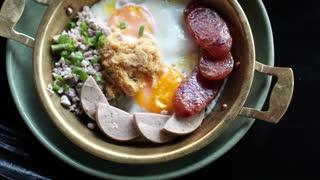 Eating full luxury set breakfast egg pan, healthy food meal