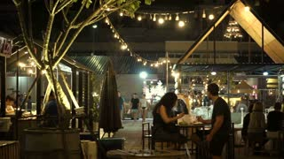 Editorial -Chiangmai, Thailand - December 2016: Night street food market area near night bazaar. Tourist and local gathering for food and music