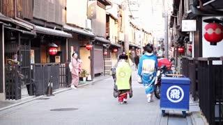 Editorial: KYOTO, JAPAN - MARCH 2015: rear view of beautiful Japanese Geishas in beautiful kimono walking along the street in Kyoto Japan
