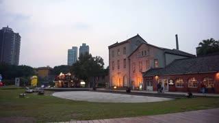 Editorial: Taipei, Taiwan ROC - February 2016: Huashan 1914 Creative Park at night in Taipei. Design shops and art area display in old warehouse