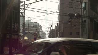 Editorial: Tokyo, Japan - December 2016: Tokyo sky tree unique view through buildings alley, New landmark of Jaoan capital city