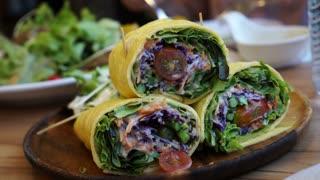 Egg wrap low carb salad, ketogenic, paleo diet 4K