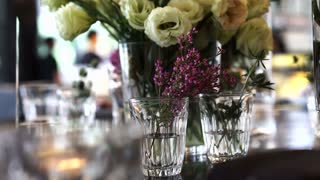 Flowers Arrangement for special party in restaurant video 4k