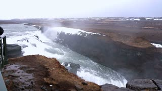 Gullfoss majestic waterfall in Iceland golden circle slow motion 120 fps