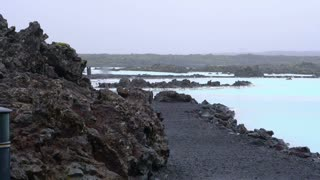 Landscape view of hot spring Blue lagoon area of Iceland