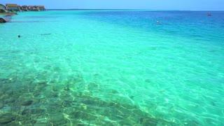 Pan view of Maldives shore. Beautiful view of paradise island