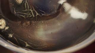 Porcelain pottery glazed texture technique close up video 4K