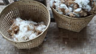 Raw cotton in bamboo basket. Material before process for fibre textile video 4k